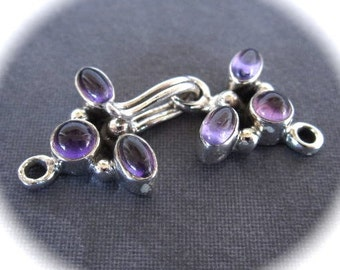 Amethyst and Sterling Silver hook and eye clasp - easy closure - 6 stone settings - genuine semiprecious stones