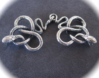 SLINKY Snake Charmer hook and eye clasp in sterling silver - 50mm X 18mm