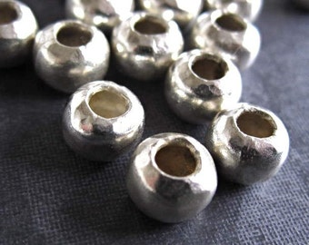 4 Large Holed Round Sterling Silver Handforged Bead - 7mm X 5mm with large hole of 3mm - Will fit 2.5mm leather or smaller