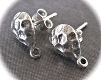 Solid Sterling Silver earring posts - Hammered - with attached jumpring at bottom - findings - 12mm X 8.5mm