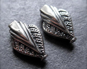 Vintage Inspired Art Deco solid sterling silver beads - oxidized and polished to a shine - 13mm X 8mm