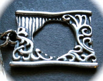Story Book toggle clasp - artisan solid sterling silver toggle clasp - 23mm X 18mm