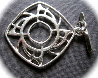 Solid Sterling Silver toggle Clasp - Modern Science -  25mm - high end quality toggle clasp