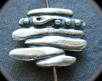 Stacked Pebbles - Solid Sterling Silver focal decorator bead - 12mm X 15mm