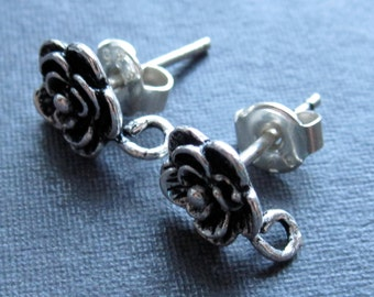 Solid Sterling Silver Rose Earring Posts - findings - one pair - oxidized and polished