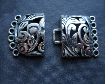 Vanessa Clasp - Multiple Strand Clasp in Solid Sterling Silver - hook and eye style - HIGH END - 6 strands