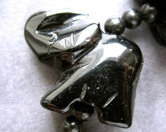 Carved Elephant Stone bead - Black Onyx - 23mm X 21mm