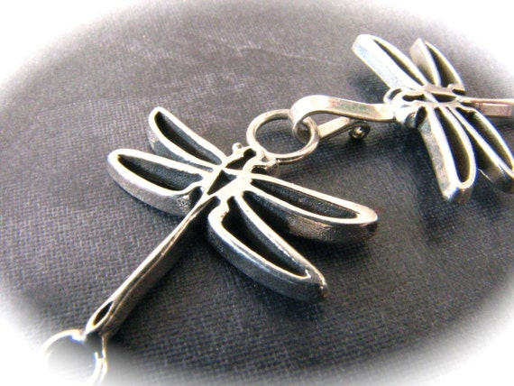 Stark Dragonflies Sterling Silver Hook and Eye Clasp  58mm X 20mm when hooked