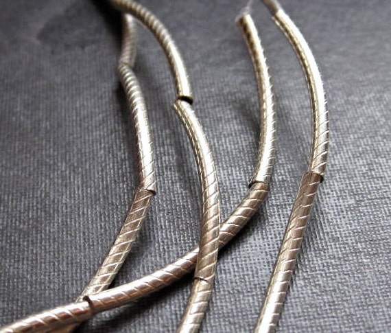 Corrugated noodle beads - solid sterling silver - 18mm  with 1mm hole
