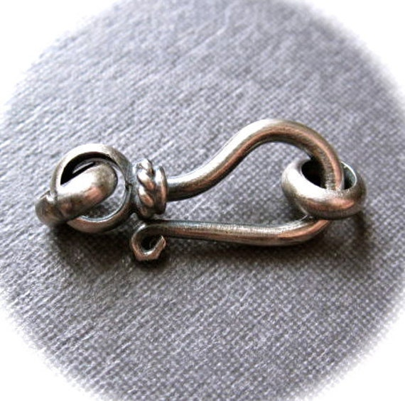 Oxidized Sterling Silver Hook and Eye clasp - 20mm X 8mm