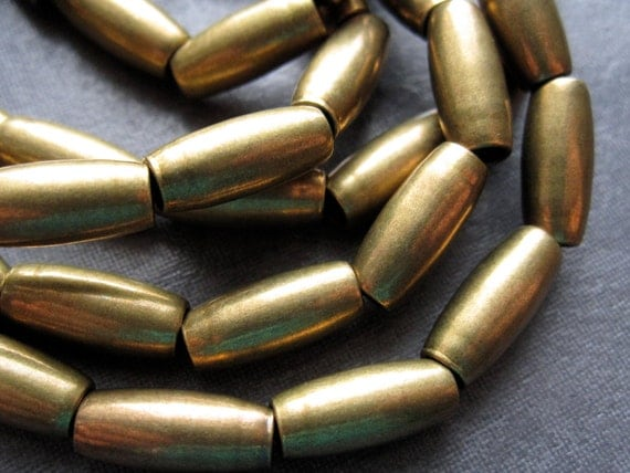Rice Tube Solid Brass Beads - 14 1/2  inches - 12mm X 5mm