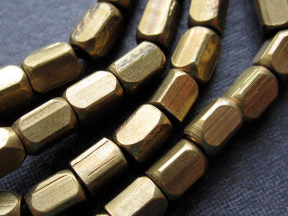 5mm Facet Tube Solid Brass Beads - 14 1/2  inches - 5mm X 3mm