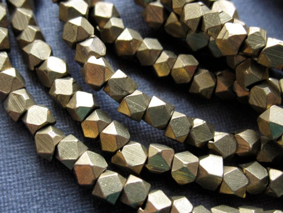 Faceted Nuggets Solid Brass Beads - 14 1/2 inches - 2mm X 2mm