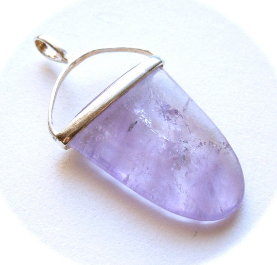Gorgeous Sterling Silver Modern light amethyst Tabular Pendant - set in solid sterling silver
