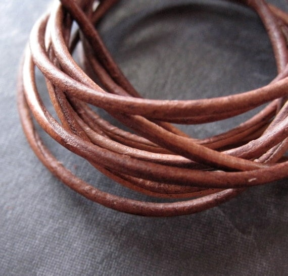 2mm Natural Leather Light Brown Round Cord - 4 feet - for jewelry makings purposes - naturally dyed