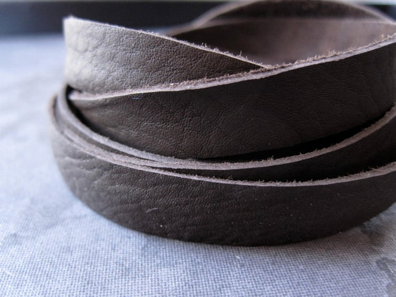 5 ft. Black Brown Genuine Leather Lace - 10mm X 1mm - Soft and Pliable for jewelry making