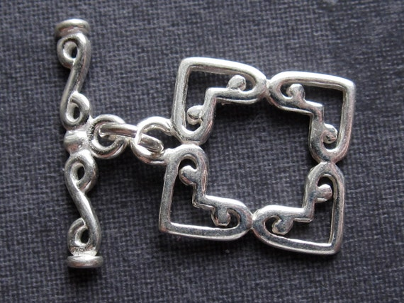Four Square Toggle - Solid Sterling Silver toggle clasp - 13mm