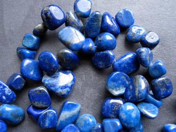 15 inches of Lapis Lazuli Briolette Nuggets - Natural bright Blue colors - stone - semiprecious gemstones
