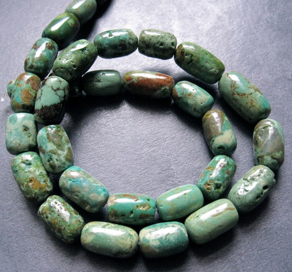Strand of Turquoise smooth polished barrel beads - 15 1/2 inch strand