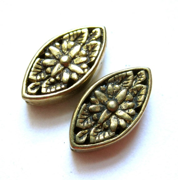 Brass Botanical Beads - Pair - tears - 12mm X 6mm - high end