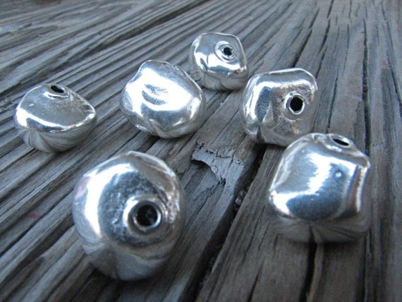 Like Stone Like Silver 6 Sterling Silver Chunky Nugget beads 12mm