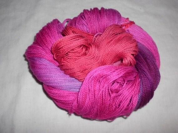Handpainted Yarn - 4/2 Soft Cotton Yarn  --RUBY SLIPPERS-420 yards--