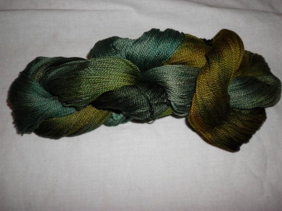 Handpainted 5-2 Egyptian Cotton Yarn    GATORSWAMP - 525 yds