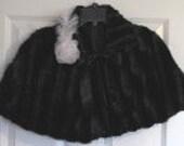 Black/Black Mink Caplet/Cape Fully Lined/Cover UP-Formal/Wedding/Bridal