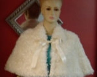 White/White Mink Faux Fur Capelet/Cape Fully Lined/Cover Up with Ribbon Ties-Formal-Wedding/Bridal