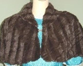 Chocolate Brown/Chocolate Brown Faux Fur Capelet/Cover Up Fully Lined/Shawl With Rhinestone Closure-Formal-Wedding/Bridal