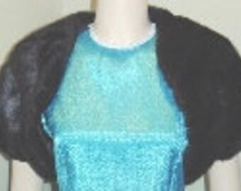 Bridal Bolero,Shrug, Black Faux Fur,Short Sleeves
