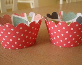 Clearance: Red and White Polka Dot  Cupcake Wrappers     Ready to Ship