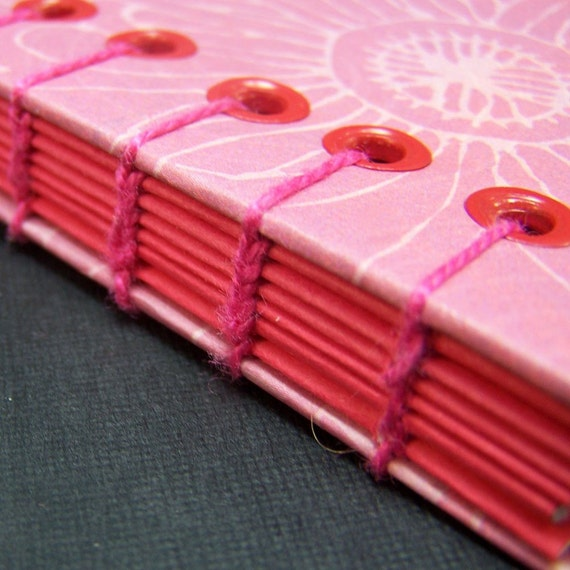Pink Notebook Journal - Pink Flower - Hand Stitched