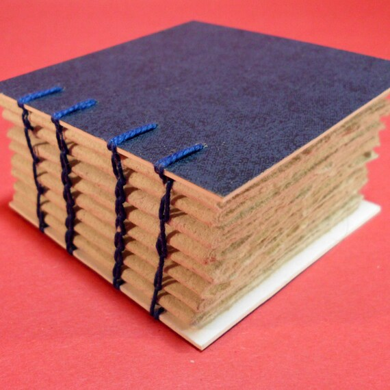 Journal Notebook - Blue Coptic Bound - Recycled Paper