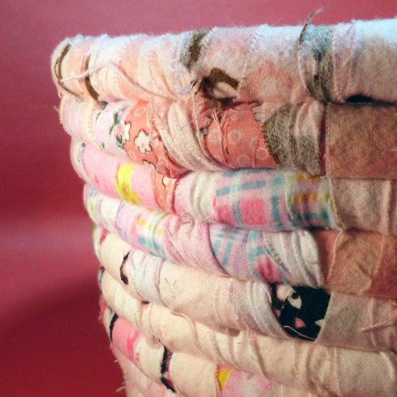 Pink Coiled Fabric Basket
