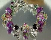 Lampwork Bracelet - Purple Iris - Lampwork Karen Hill Tribe Silver Swarovski Crystal Bead Bracelet - KTBL