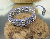 Leather Chain Bracelet - Sterling Silver Plated Lavender Leather Cord Bracelet - KTBL