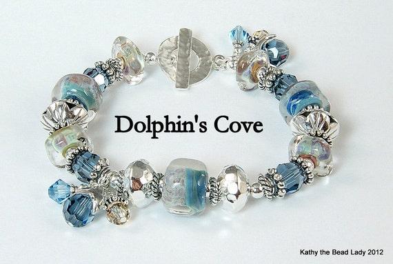 Lampwork Bracelet - Dolphins Cove - Boro Lampwork Swarovski Crystal Karen Hill Tribe Bead Bracelet - KTBL