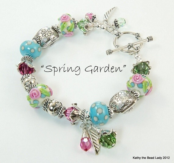 SaLe---Lampwork Bracelet - Spring Garden - Lampwork Swarovski Crystal Karen Hill Tribe Bead Bracelet - KTBL