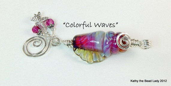 Lampwork Pendant - Colorful Waves - Lampwork Seashell Sterling Silver Wire Wrapped Pendant - KTBL