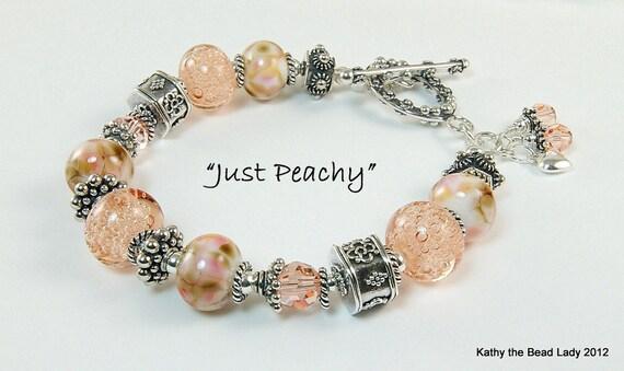 Lampwork Bracelet - Just Peachy - Lampwork Swarovski Bali Silver Bead Bracelet - KTBL