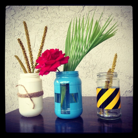 Beach House Industrial Chic - Hand Painted Glass Jar Vase or Organizers - Set of 3