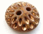 SALE-Golden Petals Ceramic Art Button