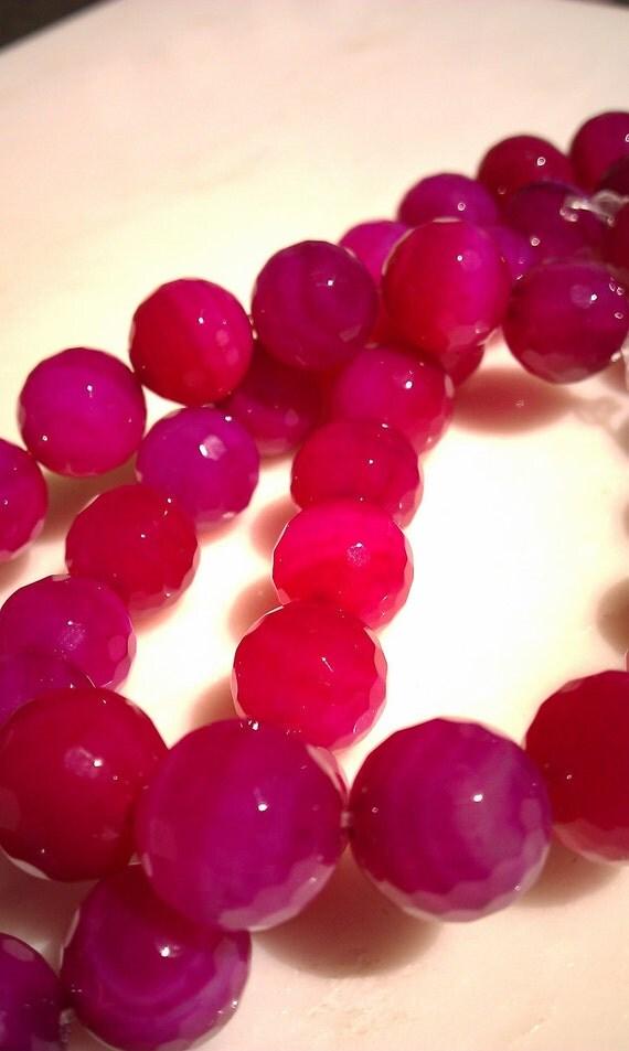 Hot Pink Faceted Quartz - Full Strand