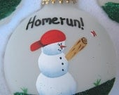 Baseball Snowman Christmas Ornament and Stand Free Personalization