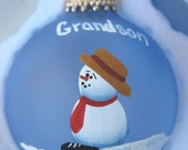 Blue Grandson Christmas Ornament to Personalize Includes Stand