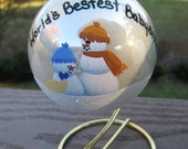 Worlds Best Babysitter Pearl Glass Christmas Ornament with Stand and Free Personalization