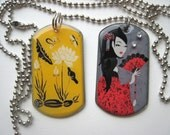 Asian Lotus Flowers and Japanese Geisha with Fan 2 Dog Tag Image Necklaces