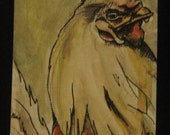 Rooster -- an original watercolor and ink ACEO (ATC, art card)