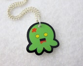 Zombie Octopus Want to Eat Brains Necklace